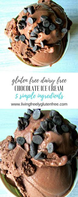 Creamy and delicious gluten free and dairy free chocolate ice cream. Only 5 simple ingredients to make this healthy ice cream. www.livingfreelyglutenfree.com