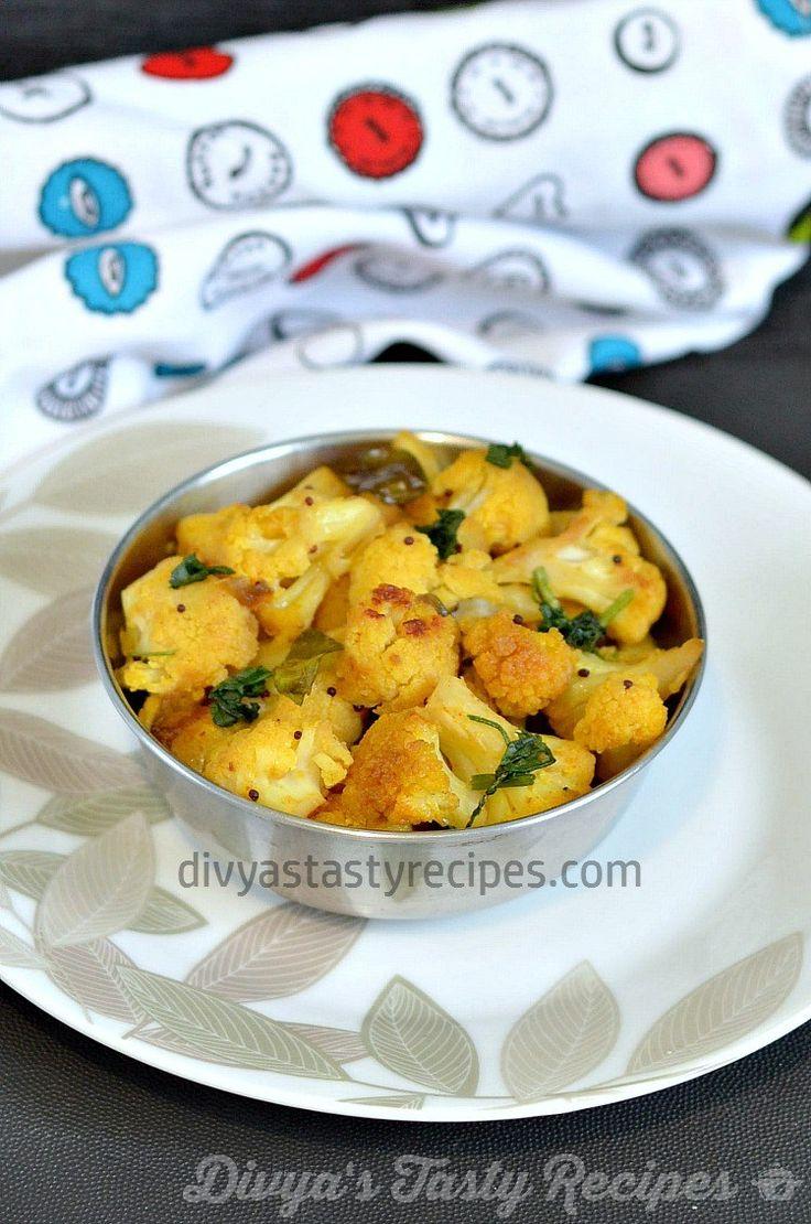 cauliflower poriyal, south indian style cauliflower stir fry