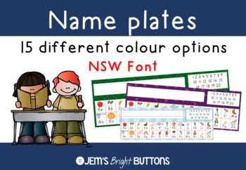 These name plates are a useful way to display students names on their desks!There are 15 colour choices to pick from (look at the preview for all of the colours included). For each colour choice there is also a plate with ruled thirds lines and one without.