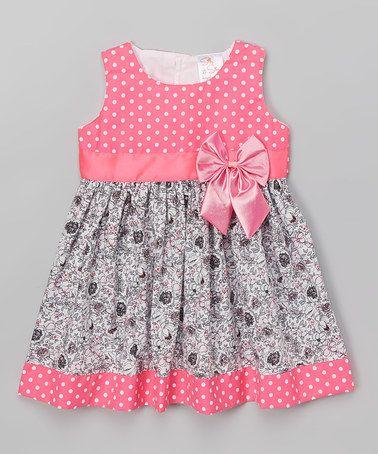 Hot Pink Polka Dot & Floral A-Line Dress - Toddler & Girls #zulily #zulilyfinds