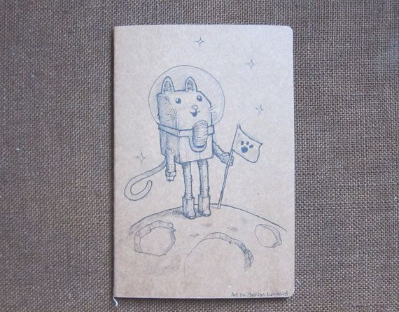 Christmas gift ,The catstronaut Hand draw notebook Design and artwork by Fahfield, kr100.00