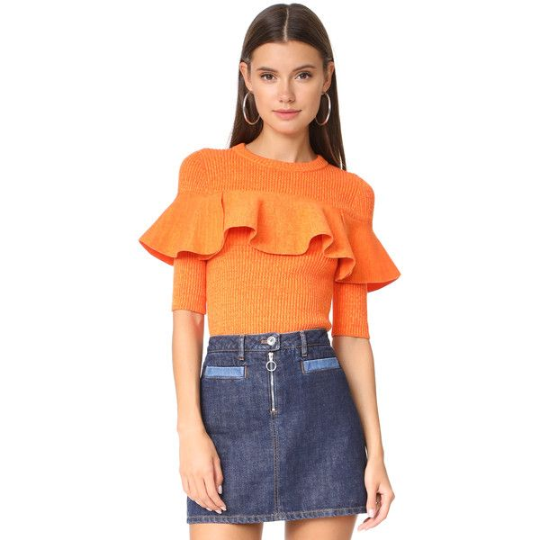 Apiece Apart Cropped Ribbed Ruffle Sweater ($350) ❤ liked on Polyvore featuring tops, sweaters, orange marl, marled sweaters, flutter-sleeve top, orange crop top, orange top and ruffle crop top