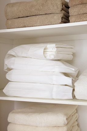 Tip Tuesday: Keep your linen closet organized by folding an entire set of sheets inside one of the pillow cases. No more digging for matching sets! #TipTuesday