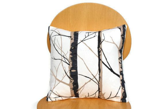 Pillow Silver birch trees brown black beige cream natural Cushion cover UK designer fabric  16 x 16 inch handmade pillow cover throw cover