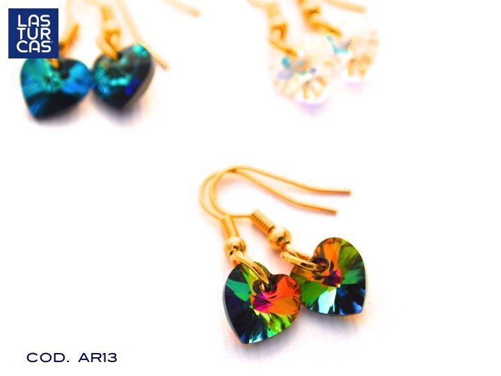 Aretes Corazon cristal Swarovski #Aretes #Cristal #Mujer #Accesorios #Handmade #Lturcas