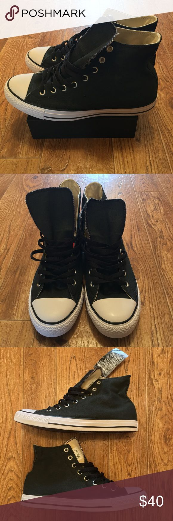 """[Converse] New Chuck Taylor All Star Washed Black New Converse All Star Sneakers, the color of these is defined as """"Washed Black Coated"""" .. they look like slightly faded black denim jeans.  Men's Size 9.5 (Converse box not included) Converse Shoes Sneakers"""