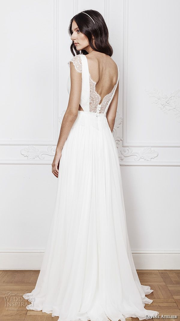 Divine Atelier 2016 Bridal Gowns Cap Sleeves V Neckline With Insert Side Cuts Romanti A Line Wedding Dress Low Back Brush Train Laris Bv