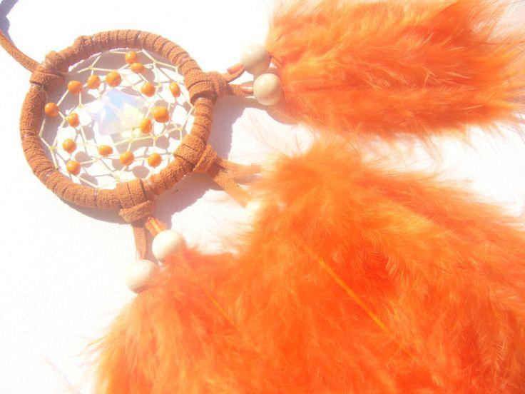 Opalith STern im orangefarbenen Traumfänger von Hochwertige  Traumfänger, Schmuck, Bilder u.v.m. auf DaWanda.com