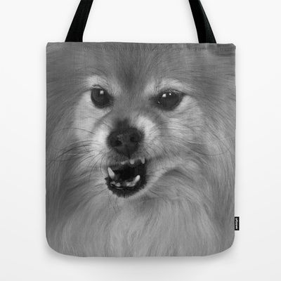 Angry Pomeranian dog Tote Bag by Bruce Stanfield - $22.00