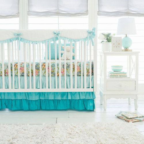 Aqua Baby Girl Bedding add a twist to the normal baby girl nursery! This fun Aqua Ombre Crib Collection includes vintage florals and ombre layering! Perfect for your darling aqua nursery!