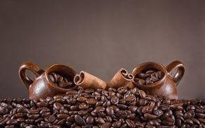 Обои кофейные зерна, палочки корицы, чашки