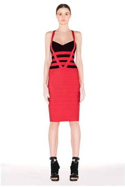 Cheap Herve Leger Red Black Colorblocked Bandage Dress