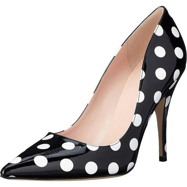 kate spade new york Women's Licorice Dress Pump, Black/White/Polka Dot... ($210) ❤ liked on Polyvore featuring shoes, pumps, patent leather pumps, black white pumps, patent leather pointy toe pumps, black and white pointed toe pumps and kate spade shoes