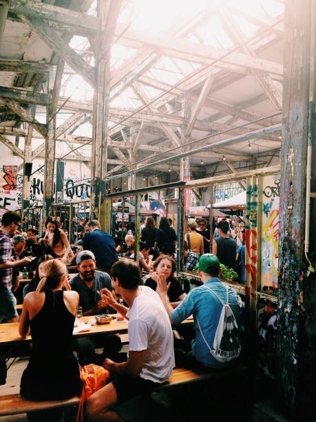 Village Market at Neue Heimat, Berlin. An old rail­way sta­tion turned into an urban space for con­certs, street food, art and hap­pen­ings. www.neueheimat.com