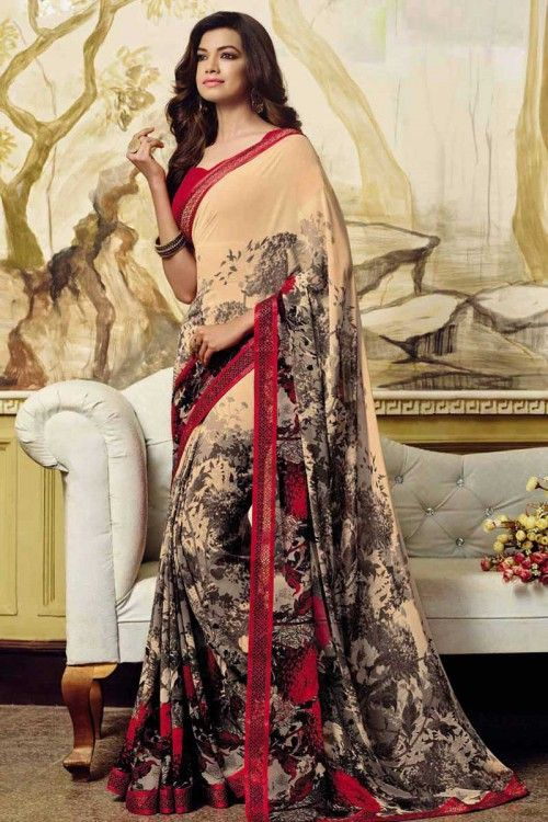 Cream Georgette Saree with Georgette Blouse Online  http://www.andaazfashion.co.uk/womens/sarees