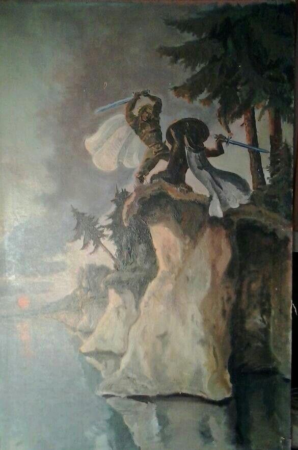 """Lāčplēsis"""" (an epic Latvian folk hero) encourages the fight against evil powers."""