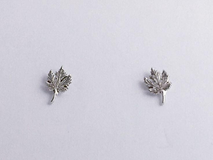 Sterling Silver & Surgical Steel maple leaf stud earrings- Leaves, maples, trees