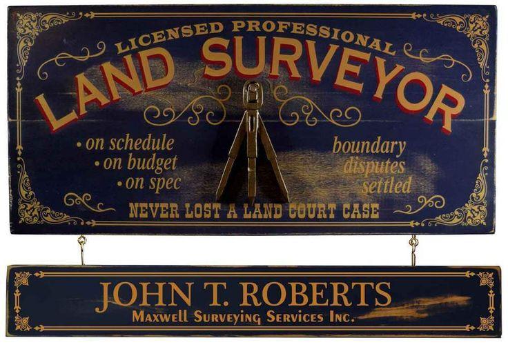 "Vintage Wood Plank Sign Land Surveyor Personalized Bar Man Cave 24"" X 11"" #OccupationalVintageWoodPlankSign"