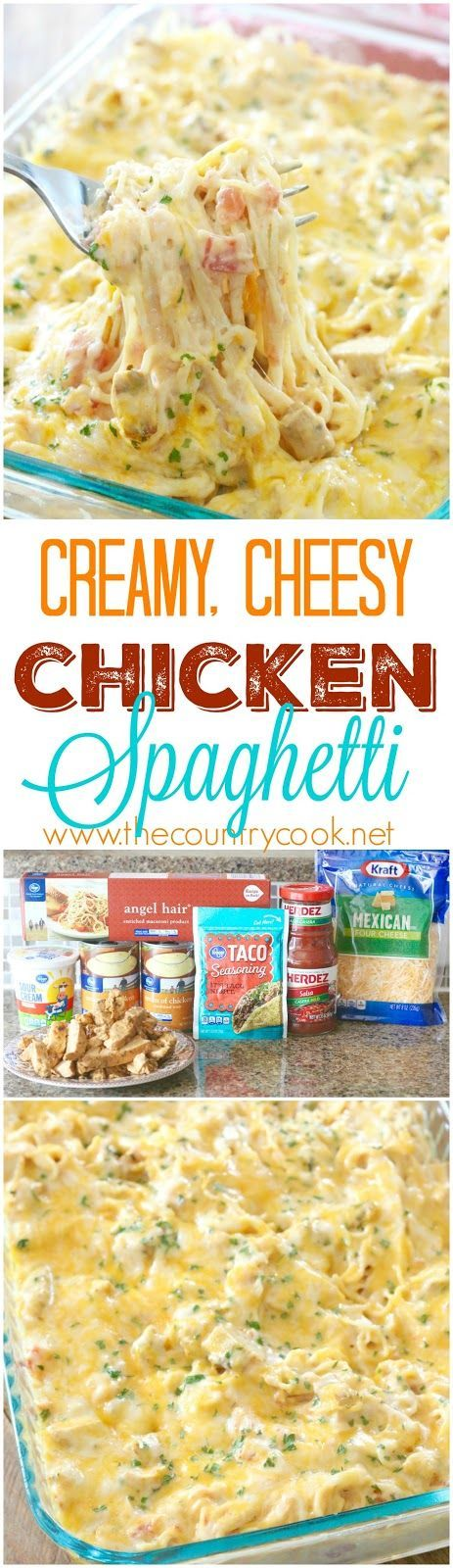 Creamy, Cheesy Chicken Spaghetti recipe from The Country Cook. The *BEST…