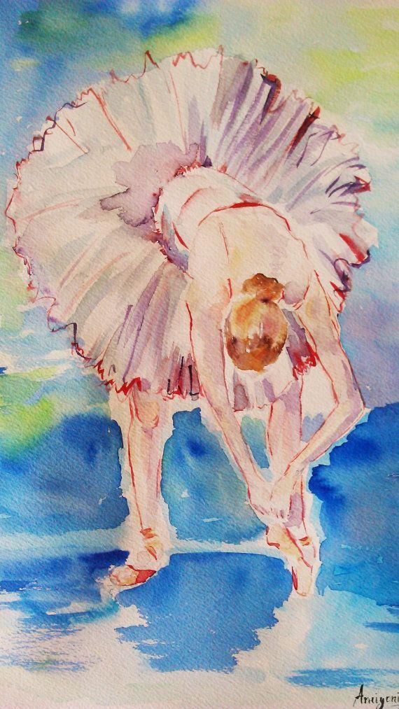 Original bailarina pintura arte ballet por AntigoniArtGallery