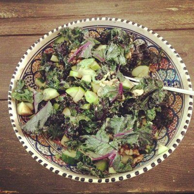 Massaged purple kale salad with green apples, avocado and walnuts