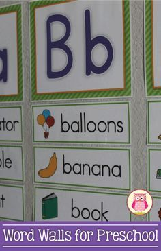 "word walls that are perfect for preschool, pre-k, and kindergarten....simple, easy-to-read with no distracting ""stuff"""