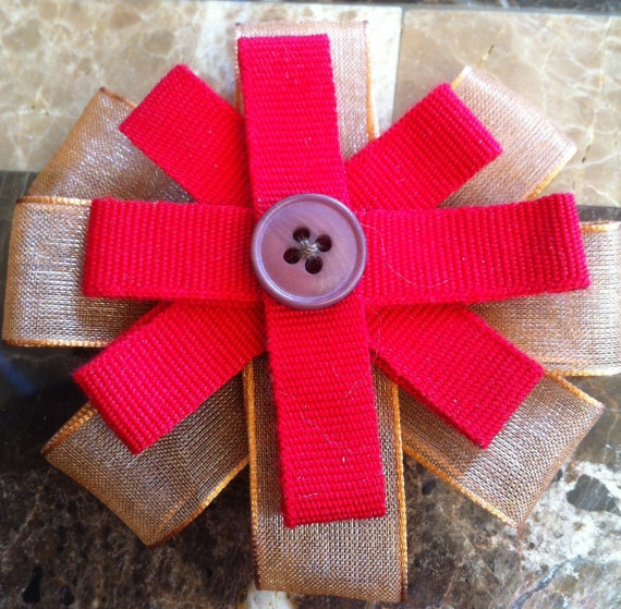 Handmade Ribbon Flower Brooch by HandmadeCraftCards on Etsy, £2.00