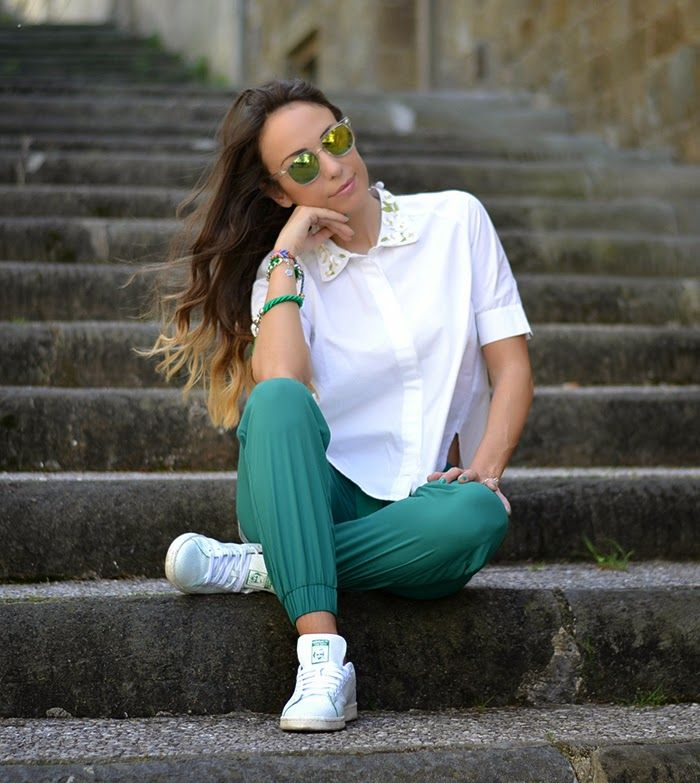 save off 6a622 aa720 look bianco verde smeraldo - white and green outfit - adidas stan smith -  ootd   El closet perfecto   Ootd, Adidas outfit, Stan Smith
