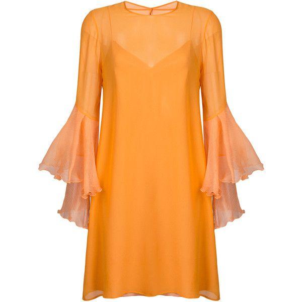 Galvan trumpet sleeve dress ($990) ❤ liked on Polyvore featuring dresses, orange, trumpet dress, orange dresses, trumpet sleeve dress and sleeved dresses