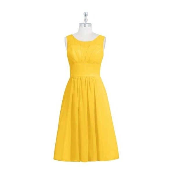 Azazie Skyla Bridesmaid Dress Azazie (£79) ❤ liked on Polyvore featuring dresses, yellow bridesmaid dresses, going out dresses, yellow party dress, bride party dress and chiffon bridesmaid dresses