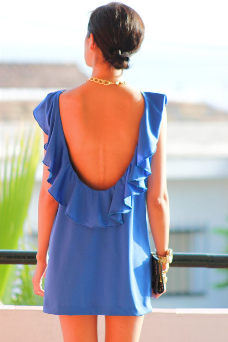 Cerulean blue ruffle mini-dress with back detail...