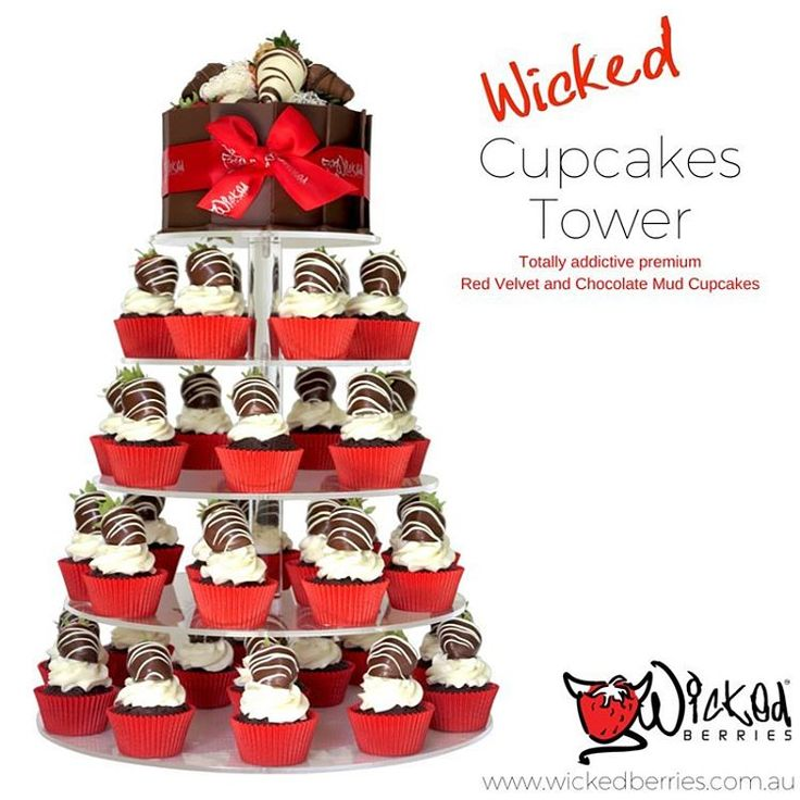 STOP EVERYTHING!...Now available to order ! Our Famous Wicked Cupcakes! Red Velvet or Chocolate Mud...or both! Serve these at your next birthday, wedding, special occasion or event. Swirled on top is our Wicked White Topping with a Wicked Berry to finish. Available at our Gold Coast and Coffs Harbour outlets. Easy order online - www.wickedberries.com.au