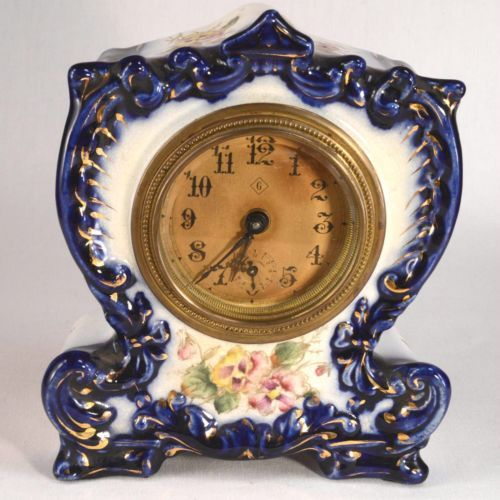 ANTQUE-GILBERT-039-MAY-039-FLOW-BLUE-CHINA-CASE-CLOCK