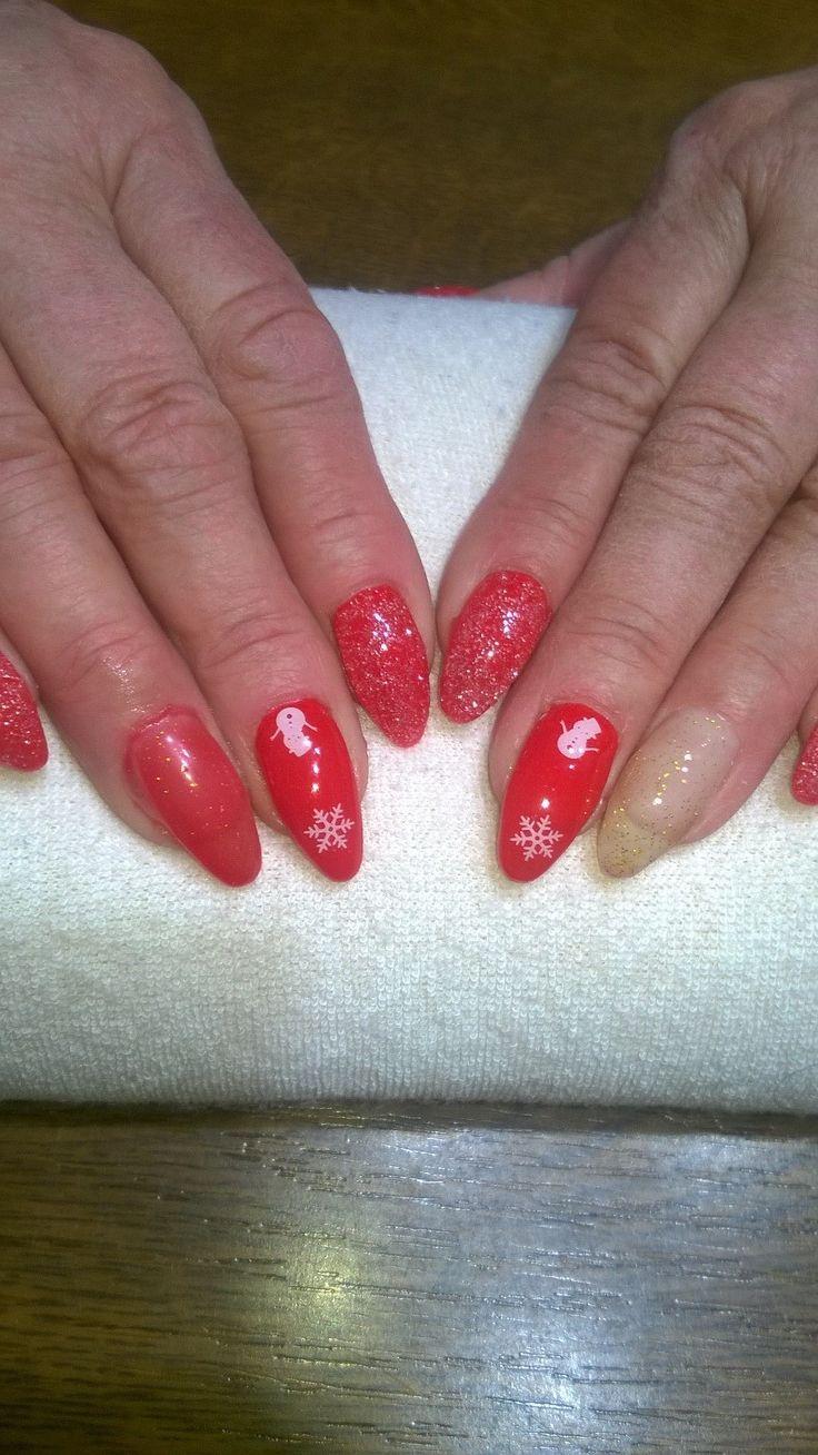 červený gel a nový měnící červeno-zlatý gel, bílé vánoční ozdůbky