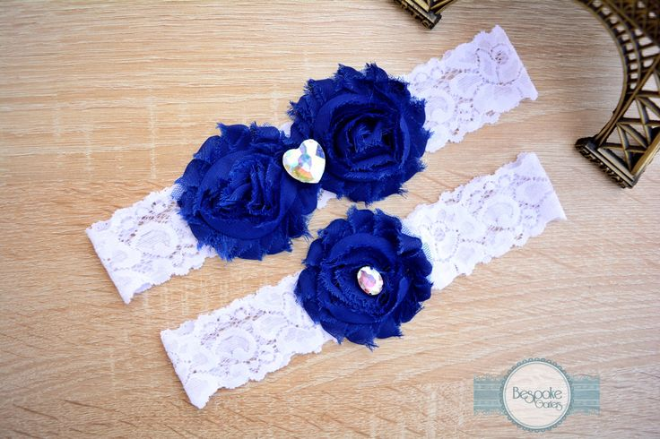 Something Blue Garter, Wedding Garter, White Wedding Garter, Garter, Lace Wedding Garter, Bespoke Garter, Garter Set, Wedding Garter Set by BespokeGarters on Etsy