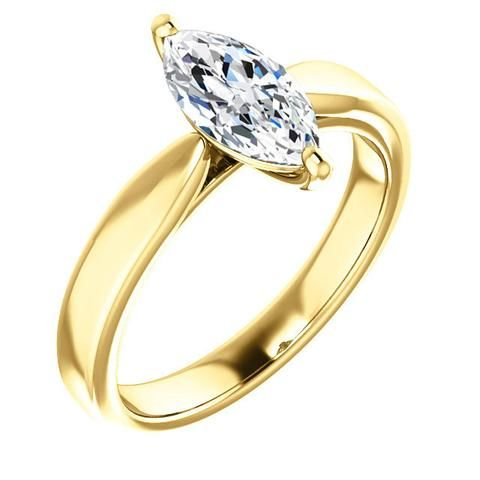 1.0 Ct Marquise Ring 14k Yellow Gold
