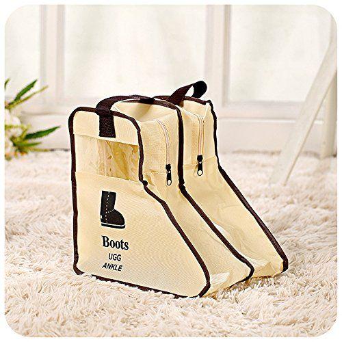 Yiuswoy Tragbare Nichtgewebte Staubdicht Schuhbox Schuhkasten Stiefel Aufbewahrung Stiefelbeutel Schuhaufbewahrung Boots Organizer Tasche Fuer Kurze Stiefel - Beige