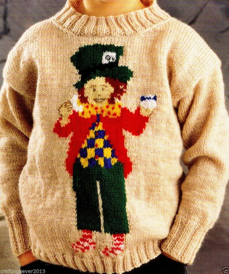 """EASTER ALICE IN WONDERLAND """"MAD HATTER"""" JUMPER 3-10 YEARS 8PLY KNITTING PATTERN"""