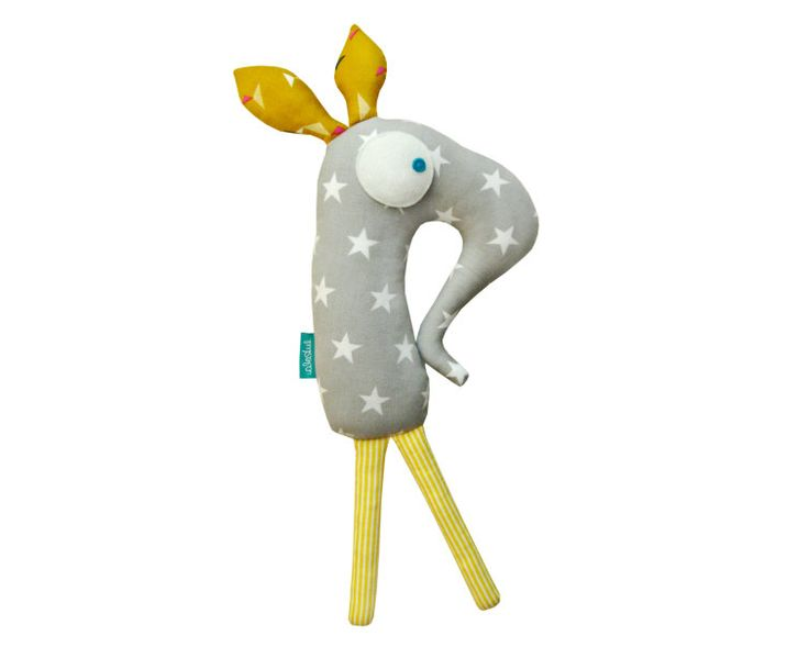 Mr Squeaky - soft and cute - grey with stars - UNIQUE COPY by lukola on Etsy
