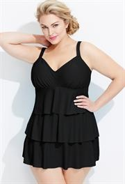 Plus Size Black Tiered Swim Dress image