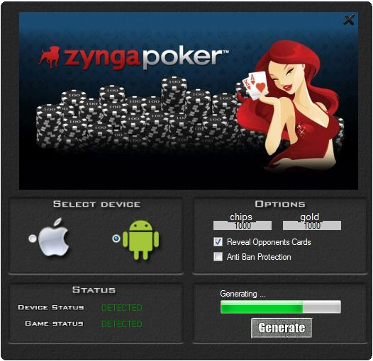 This hack works 100% to the game Zynga Poker. If you download this tool you can be generate a lot of chips and gold. Our group guarantee a hack it working very well. Tool is easy to use and does not need a installation.   http://wazzupgames.com/zynga-poker-hack/