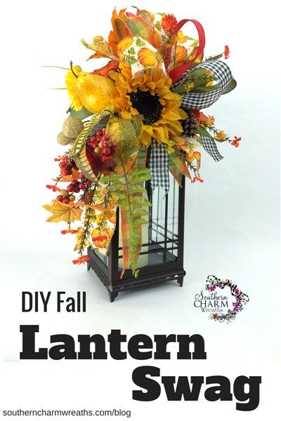 DIY Fall Lantern Swag by SouthernCharmWreaths. Use this Lantern Swag tutorial to make a lantern swag for any season.