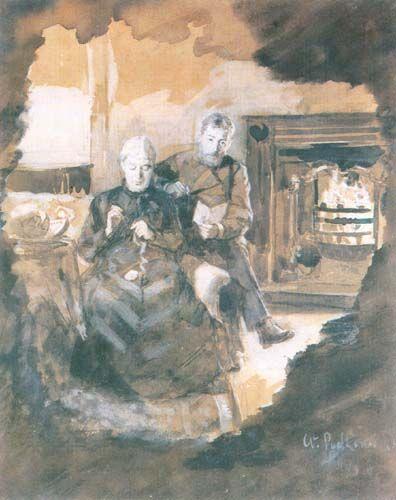 By a Fireplace - Andrzej Ansgary (Wladyslaw Podkowinski)