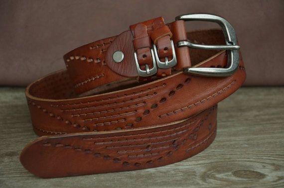 Women's Belt Brown Leather Belt Strap Ladies Dress Belt Soft Cowhide Belt Boho Belt Gift For Woman by SherryJewelry, $29.50