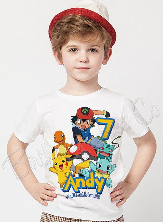 Pokemon Birthday Shirt Add Name & Age Pokemon GO Mystic Custom Birthday Party TShirt LL 04