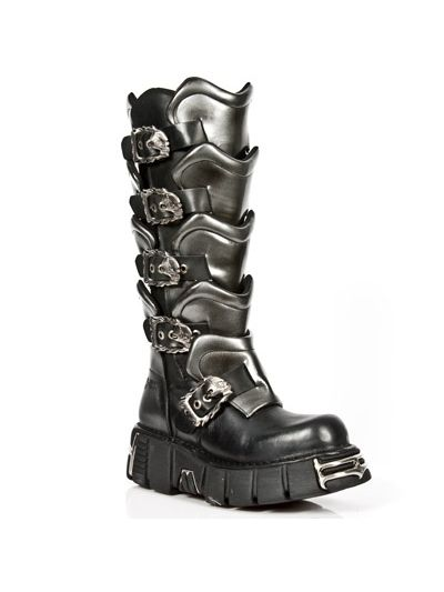 Armour - high boots by New Rock NRK Metallic collection model, code: 738 ITALI NEGRO PULIK ACERO, TOWER NEGRO ACERO INNER MATERIAL - PIG SKIN OUTER