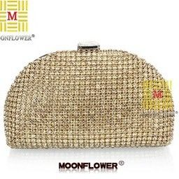 New Luxury Czech Rhinestone Women Clutch Semicircular Full Diamond Handbag Party Evening Bag. Shoulder Messenger Bag Gold Silver US $25.90