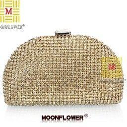 New Luxury Czech Rhinestone Women Clutch Semicircular Full Diamond Handbag Party Evening Bag. Shoulder Messenger Bag Gold Silver US $25.90