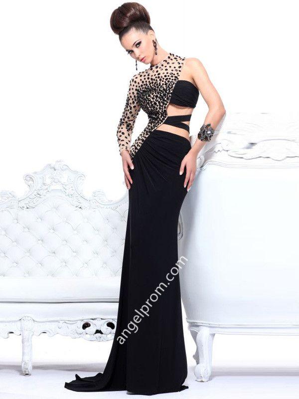 Sheath/Column One Shoulder Rhinestone Prom Dresses/Evening Dresses
