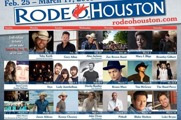 Houston Rodeo lineup 2013. I want to go soooooo bad!
